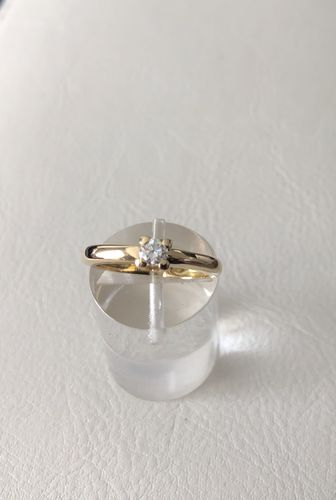 solitaire diamant 0,17 ct  or jaune 18 carats, or 750, poids 3 g