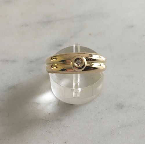 bague jonc double or 18k  diam 0,02 ct  occasion poids 3,52 g