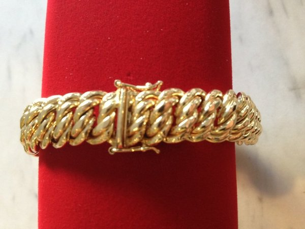 Bracelet maille americaine or 750, 18 carats, 18,30 grs