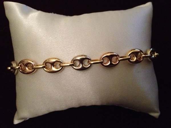 Bracelet grain de cafe 3 couleurs tricolore or 750, 18 carats