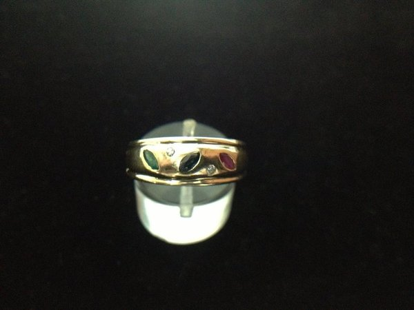 bague jonc tutti frutti or 18k emeraude diams okz