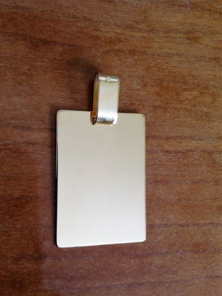 Pendentif plaque rectangle GI or jaune 750, or 18 carats