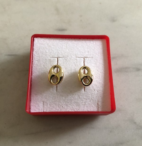 Boucles d'oreilles grain de cafe or 18 carats or 750, 10 x 7,5 mm
